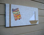 Sailing themed Pin board with a sailboat image, nautical and cottage decor for your cabin or child's room, burlap and vintage linens