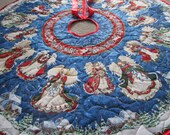 Christmas Tree Skirt Angels on High, Quilted Tree Skirt, Angel Tree Skirt, Christmas Decoration, Holiday Decor