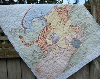 Baby Boy Quilt, Classic Winnie the Pooh , Crib bedding, Nursery Decor, Baby Bedding