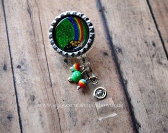 St.Patty's Day...rainbow...pot of gold...retractable badge reel