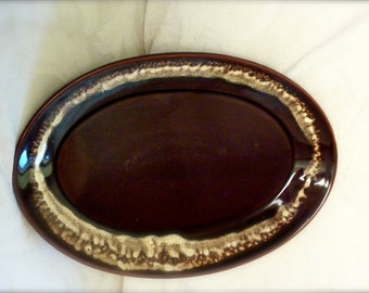 Vintage 60's Pfaltzgraff Oval Meat Platter Brown Drip Glaze Collectible