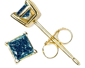 blue diamond earrings 14k gold