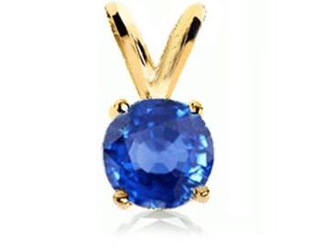 14k gold blue sapphire pendant solitaire
