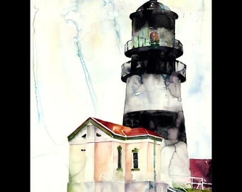 Cape Disappointment Lighthouse, Watercolor, Oregon Coast,