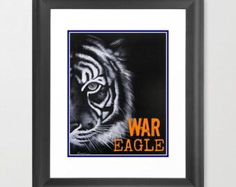 Giclee Auburn- War Eagle print 11x14