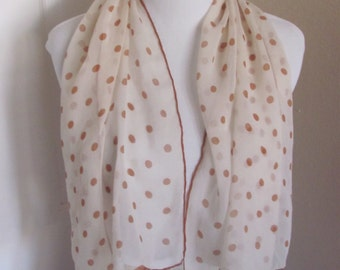 Lovely Ivory Polka Dot Chiffon Silk Fashion Scarf - 16 x 40 Long