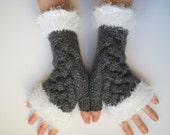 HAND KNITTED GLOVES / Women Accessories Fingerless Mittens Elegant Warm Wrist Warmers / Crochet Winter Cabled Romantic Gift Feminine Arm 593