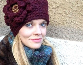 Chunky Hat, Crochet Hat, Chunky, Slouch Hat, Slouch, Flower, Snug, Warm, Winter, Fall, Girly, Fashion