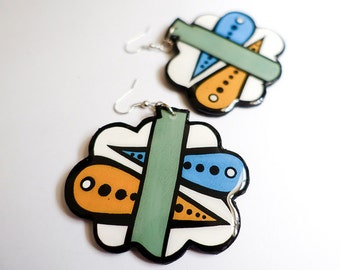 Modern Hand Painted Modern Striped Green, Mustard and Blue Nimbus and Raindrop Earrings