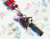 Key Charm Pendant Red Bead Necklace
