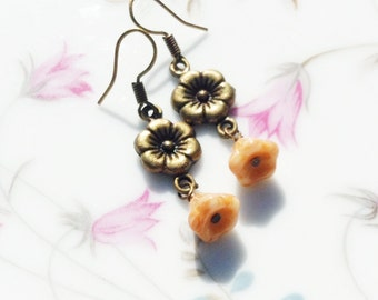 Flower Earrings - Amber Beads