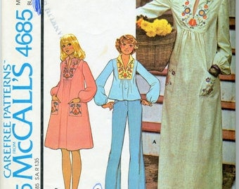 Vintage Misses; Dress or Top With Four-Color-Iron-on Transfer Sewing Pattern - McCall's 4685 - Size Small (10-12)
