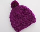Knit Purple Baby Pompom Hat. 0 - 3 months.