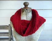 Infinity Scarf. Crochet Chunky Warm neck cowl. JELLIED CRANBERRY. Festive Fall. Autumn. Winter. Christmas fashion scarf. Deep Crimson red