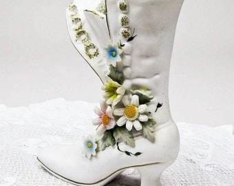 Pincushion Shelf Sitter Victorian Porcelain Boot  Home Decor Handmade by OlliesFineThings Hostess Gift