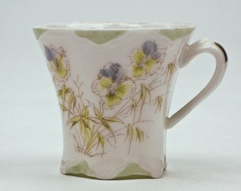 Tiny Collectible Teacup Fine Porcelain White Background Pastel Pansies Vintage 40s