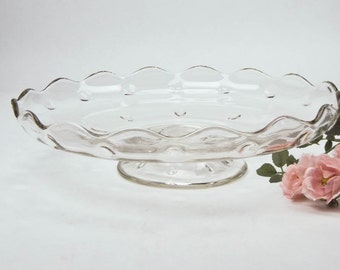 Cake Stand, Cupcake Plate, Vintage Indiana Pressed Glass, Teardop Pattern, Pedestal Appetizer Plate, Dessert Plate