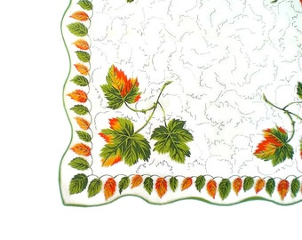 Vintage Autumn Print Hankie Handkerchief Seasonal Fall Hankie Handkerchief  Burnt Orange and Green Leaves Scalloped Edge Retro Hankie