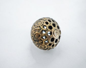 Antique Filigree Domed Mirror Back Brass Button Metal Shank
