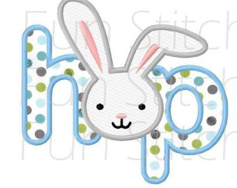 Easter bunny hop applique machine embroidery design