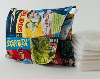 Diaper and Wipe Clutch in Sci-Fi Retro TV Show Fabric