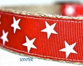 Star Dog Collar, Red and White Dog Collar, Handmade Dog Collar, White Star Dog Collar, Texas Star Collar