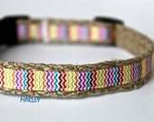 Rainbow Stripe Dog Collar, Reggae  Dog Collar, Adjustable Small Dog Collar, Narrow Collar