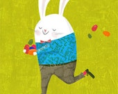 HAPPY EASTER! art print // green skateboarding rabbit funny home decor