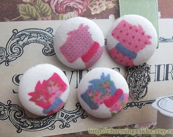 Fabric Covered Buttons(M) -Lovely Pink and Blue Shabby Chic Rose Floral Dots Schnauzer Dog Dogs (4Pcs, 0.87 Inch)