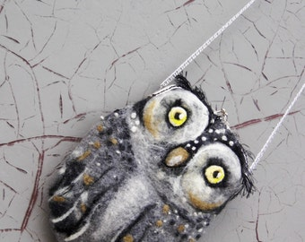 OWL Wet Felted coin purse,Shoulder Bag,Ready to Ship with bag frame metal closure Hand made gift for her