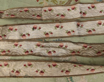 Antique metal lace trim art deco roses pewter silver ribbon ribbonwork millinery trim flapper 1900s 1920 edwardian millinery