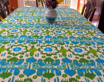 Table ClothTable Cloth TCL1441,  White, Turquoise and Green Modern Design, Small Table Cloth, Tablecloth, Square, Bright,  Up Cycled
