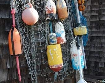 Nautical Wall Art, Buoys, Lobster Traps, Colorful Fishing Decor, Fishing Nets, New England Landscape, Fishing Village, Nautical Prints