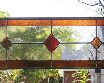"Three Diamonds Multicolored Transom --8"" x 26""--Stained Glass Window Panel"