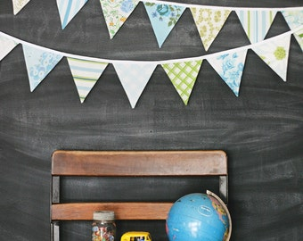 Bunting Banner / Vintage Nursery Decoration / Baby Shower / First Birthday Party / Nursery Decor / Aqua Green Blue