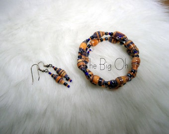 Paper bead bracelet and earring set