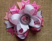 Miss Mouse Hair Bow, Colorful Hair Ribbon, Custom Baby Hairbow, Ribbon Hair Clip, Baby Hair Bow Clip Pink and Aqua, Disney Hair bow