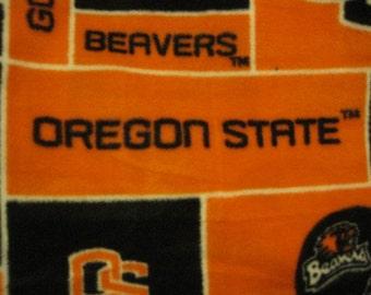 Oregon Beavers Logos in Orange and Black Blocks with Black Handmade Fleece Blanket - Ready to Ship Now