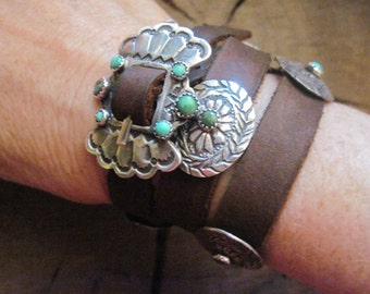 Old Stone Turquoise Indian Inspired Concho Bracelet Handmade For Ralph Lauren in The 1980's