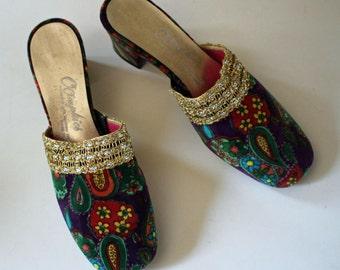 Fab U Lous Never Worn Vintage 1960s Velvet SHOES...So Groovy...Hippie Boho...Talitha Getty...Paisley...Size 6.5...Oomphies