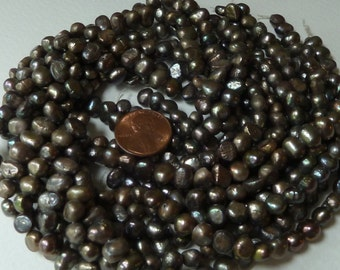 Gray Freshwater Nugget Pearls - 7mm to 8mm - Rustic with a Vintage Appeal - Irregularities, Crinkles, Bumps - Full Strand - (pga1)