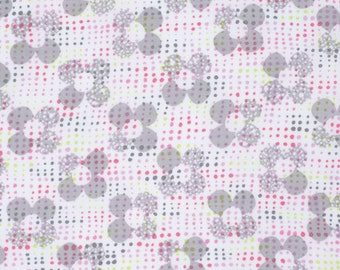 Pink Grey and Green Floral Polka Dot Cotton, Palermo By Erin McMorris for Free Spirit, Isa Print in Blush, 1 Yard