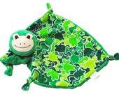 Frog Security Blanket, Baby Lovey Blanket, Frog Toy, Gender Neutral, Baby Blanket, Stuffed Animal, Plush Blanket, Baby Girl, Baby Boy, Toy