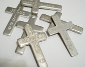 Collection of aluminum crosses * Pendant crosses * Pocket crosses * Religious rosary necklace supplies * Cross with words * cheesegrits