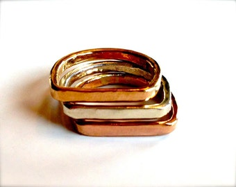 Some like them Square Tricolor Stacking Rings