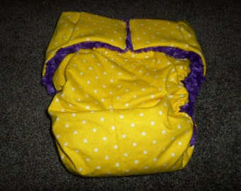 Adult Cloth DiaperYellow Polka Dot with Purple Flurry Minky Lining, Change,Your View of Adult Incontintent Products Buy 4 Get 1 Free