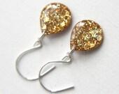 yellow glitter teardrop earrings on sterling silver earwires, 1.25 inches long - SMALL EARRINGS