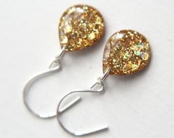 yellow glitter teardrop earrings on sterling silver earwires