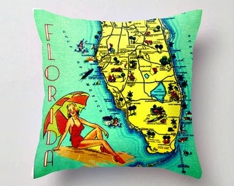 Sunny Florida Pillow Cover, Summer Party Pillows, Florida Gift, Beach Pillow, Florida Map Pillow Aqua Throw Pillow, Summer Party