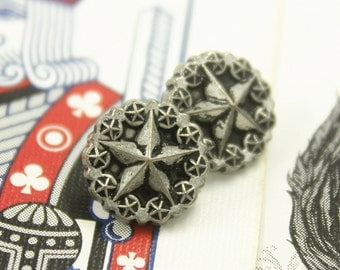 Metal Buttons - Wreath Star Metal Buttons , Retro Silver Color , Shank , 0.43 inch , 10 pcs